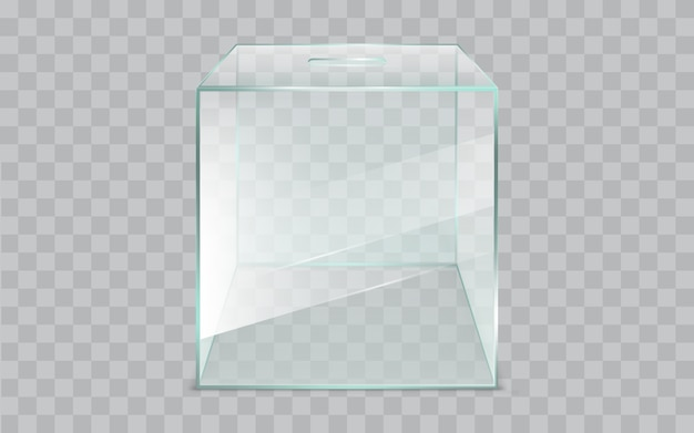 Realistischer vektor der leeren, quadratischen, glaswahlurne