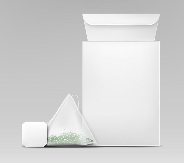 Realistischer vektor der verpackungsschablone des grünen tees