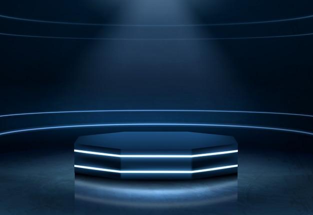 Realistischer vektor des belichteten modeschau-podiums