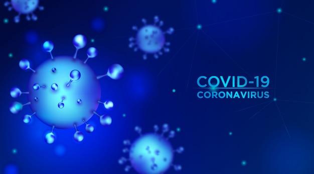 Realistischer vektor des coronavirus 3d im dunkelblauen hintergrund.