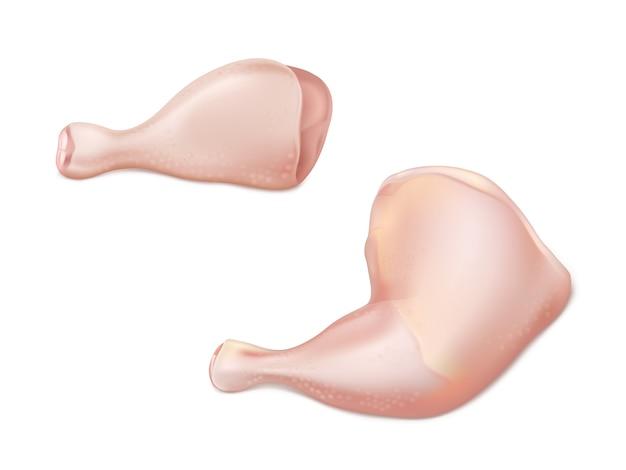 Realistischer vektor des rohen fleisches des geflügels 3d mit teilen des huhns oder des hinteren teils des truthahns als trommelstock und schenkel lokalisiert auf weißem hintergrund. grillen, appetitliche bestandteile der proteindiät eingestellt