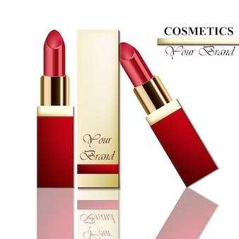 Realistischer vektor des roten lippenstifts auf weißem hintergrund. kosmetikverpackungen mock-up