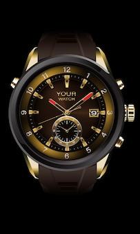 Realistischer vektor des uhrenchronographen grauer stahlgold-armaturenbrettgesicht weißer zahlentext luxus-eleganz für männer