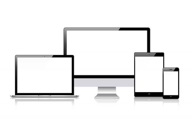 Realistischer vektor. gerätesatz: laptop-, tablet- und telefonvorlage überwachen