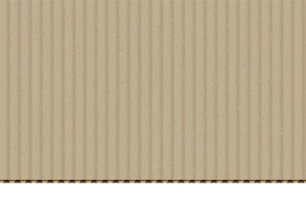 Realistischer vektorhintergrund des wellpappenrandes der pappe. bastelpapier mit schnittkante auf weißem hintergrund. karton, box material leere oberfläche textur. beige karton mit flöte textur illustration