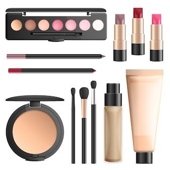 Realistischer vektorsatz der kosmetik und der make-upwerkzeuge