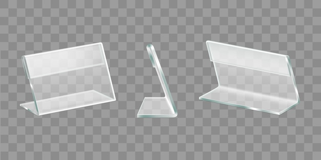Realistischer vektorsatz der tabellenanzeigenacrylhalter