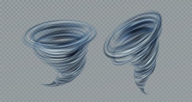 Realistischer vektortornadostrudel lokalisiert auf grauem hintergrund. echter transparenzeffekt. vektorillustration eps10