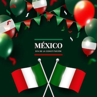 Realistischer verfassungstaghintergrund mit mexikanischer flagge
