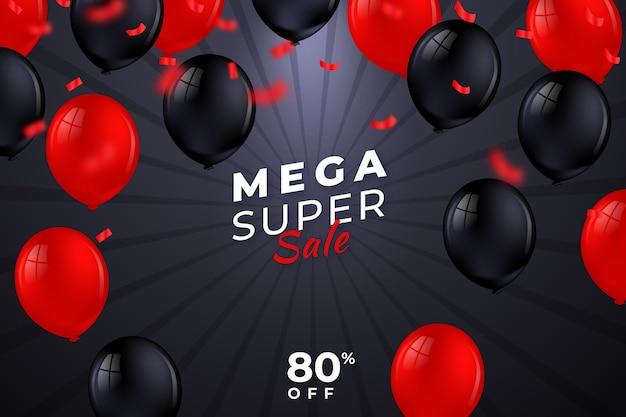 Realistischer verkaufshintergrund mit ballonen