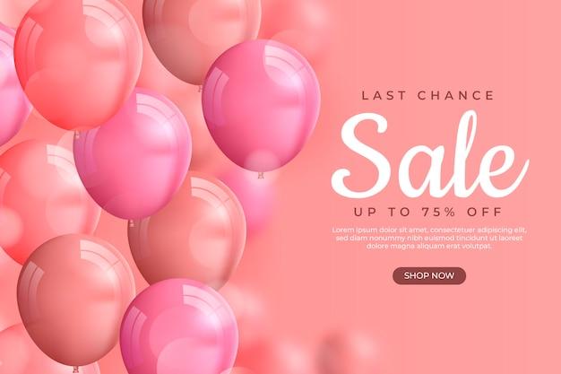 Realistischer verkaufshintergrund mit luftballons