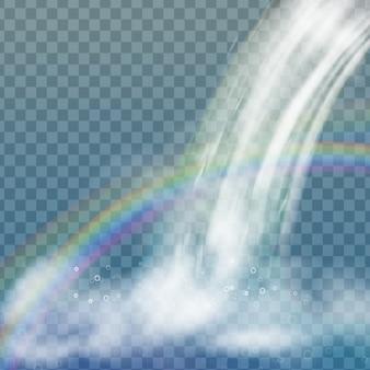Realistischer wasserfall mit klarem wasser, regenbogen und blasen. natürliches element für designlandschaftsbilder. auf transparentem hintergrund isoliert.