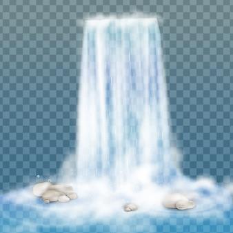 Realistischer wasserfall mit klarem wasser und blasen. natürliches element für designlandschaftsbilder. auf transparentem hintergrund isoliert.