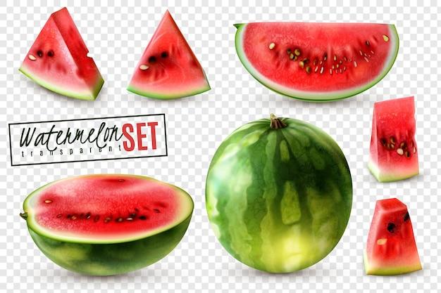 Realistischer wassermelonensatz mit ganzen halben viertelscheiben und bissgrößenstücken transparenter hintergrund isolierte illustration