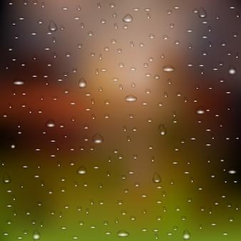 Realistischer wasserregen lässt naturhintergrund fallen
