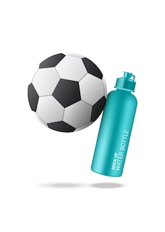 Realistischer wasserschüttel-apparat der flaschen-3d mit dem fußballweltcup lokalisiert eingestellt auf weiß