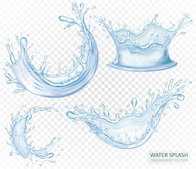 Realistischer wasserspritzsatz lokalisiert auf hellem transparentem hintergrund. blaue flüssigkeitswellen. design.