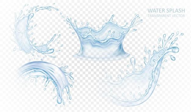 Realistischer wasserspritzsatz lokalisiert auf hellem transparentem hintergrund. blaue flüssigkeitswellen. illustration.