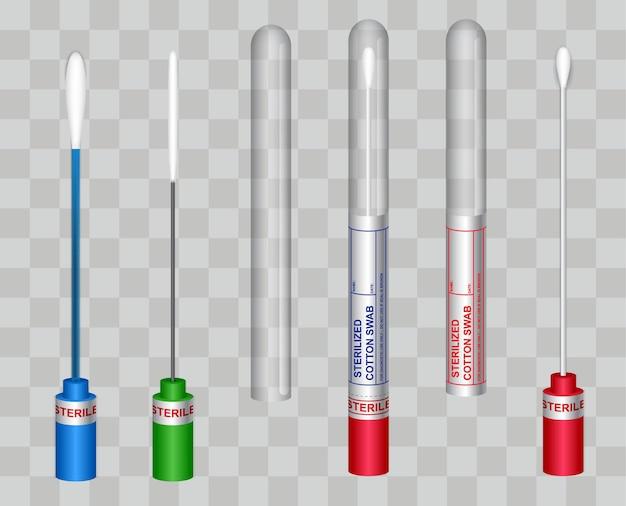 Realistischer wattestäbchen-covid19-test wattestäbchen-labortest
