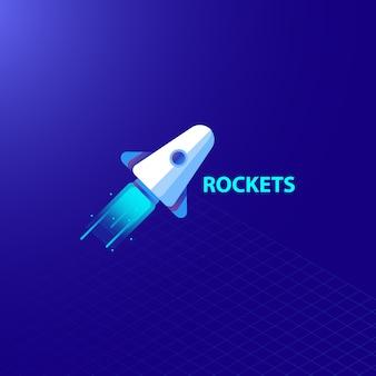 Realistischer webdesign-hintergrundvektor des einfachen blauen rockets