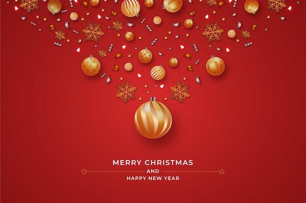 Realistischer weihnachtsball-dekorationshintergrund