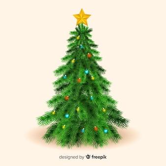Realistischer weihnachtsbaum mit stern auf die oberseite