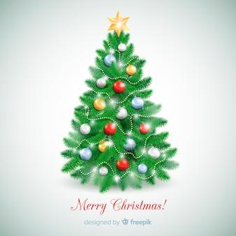 Realistischer weihnachtsbaumhintergrund