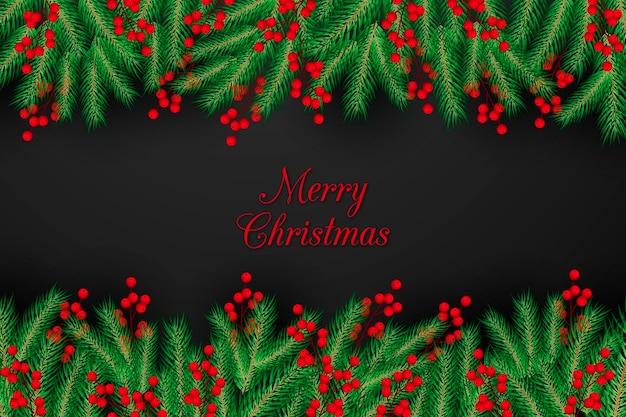 Realistischer weihnachtsbaumzweighintergrund Kostenlosen Vektoren