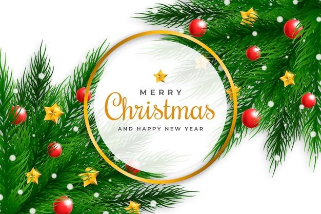 Realistischer weihnachtsbaumzweighintergrund
