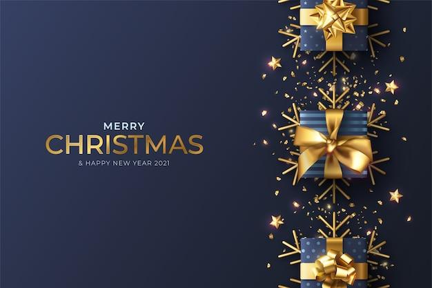 Realistischer weihnachtshintergrund mit blauer dekoration