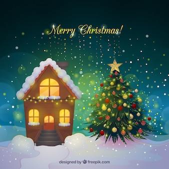 Realistischer weihnachtshintergrund mit einem haus und einem weihnachtsbaum