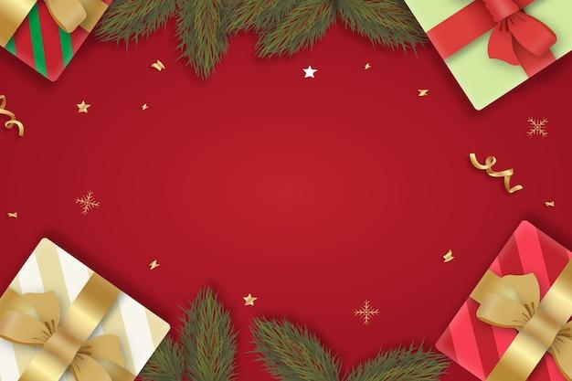 Realistischer weihnachtshintergrund mit geschenken und zweigen