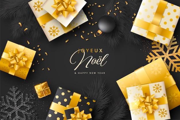 Realistischer weihnachtshintergrund mit geschenken