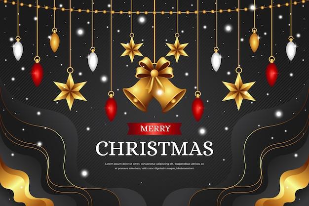 Realistischer weihnachtshintergrund mit glocken