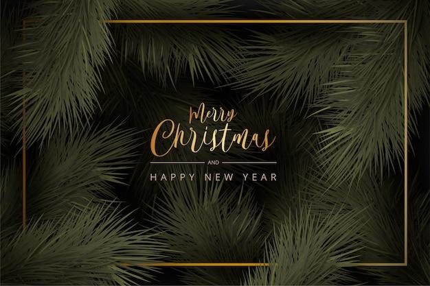 Realistischer weihnachtshintergrund mit goldenem rahmen und blättern
