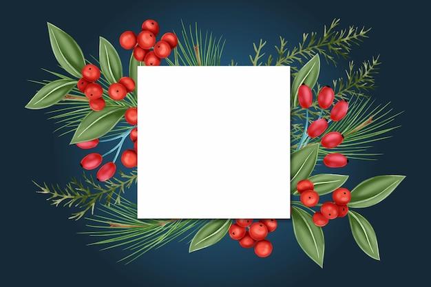 Realistischer weihnachtshintergrund mit leerer karte