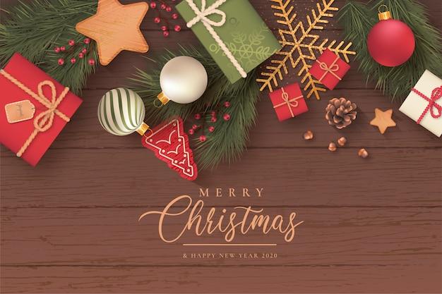 Realistischer weihnachtshintergrund mit netten verzierungen