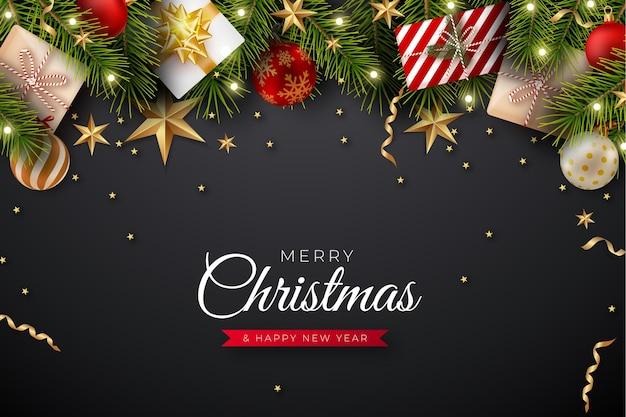 Realistischer weihnachtshintergrund mit niederlassungen