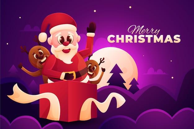 Realistischer weihnachtshintergrund mit weihnachtsmann