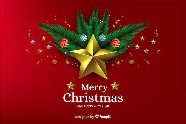 Realistischer weihnachtshintergrund und ein goldener stern