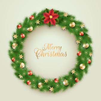 Realistischer weihnachtskranz mit gruß