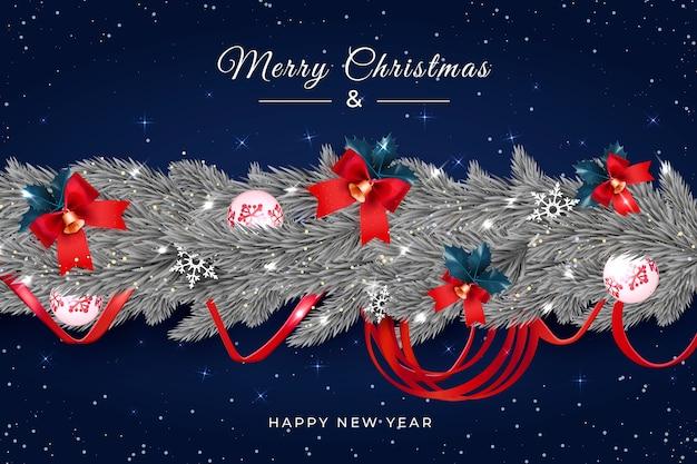 Realistischer weihnachtslamettahintergrund mit glocken