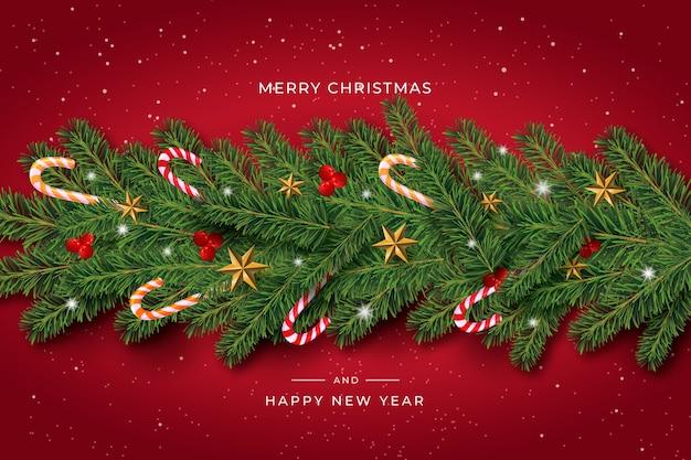 Realistischer weihnachtslamettahintergrund mit zuckerstangen