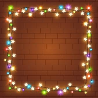 Realistischer weihnachtslichtrahmen