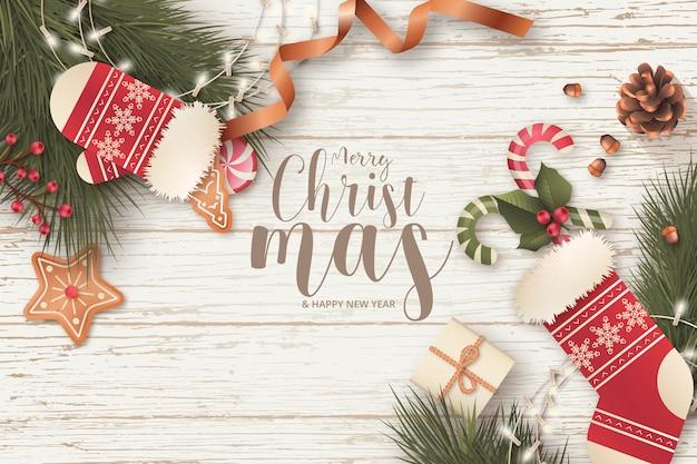 Realistischer weihnachtsrahmen mit saisonmitteilung