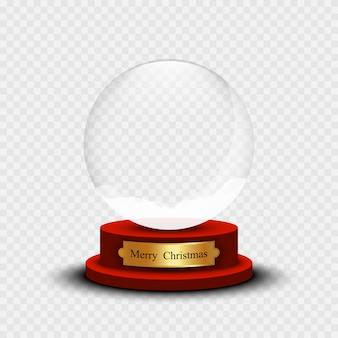 Realistischer weihnachtsschneeball. glasschneeball mit schatten auf transparentem hintergrund