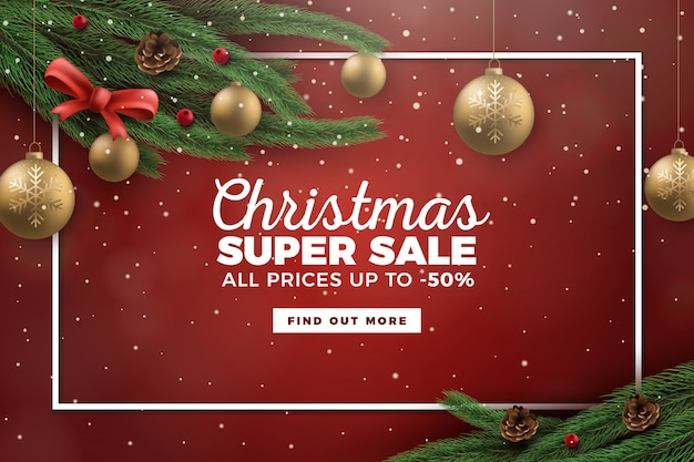 Realistischer weihnachtsverkauf-hintergrund