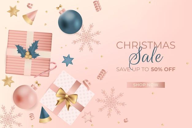 Realistischer weihnachtsverkauf in pastellfarben