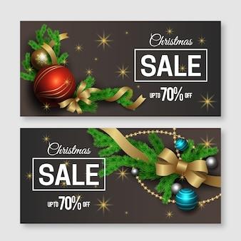 Realistischer weihnachtsverkaufs-fahnensatz