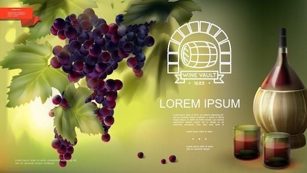 Realistischer weinbauindustriehintergrund mit bündel lila weintraubengläser und flasche weinillustration